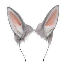 Diademas de Lolita con orejas de conejo peludas, diadema de pelo de conejo Kawaii para Halloween, casco de disfraz, suministros de fiesta