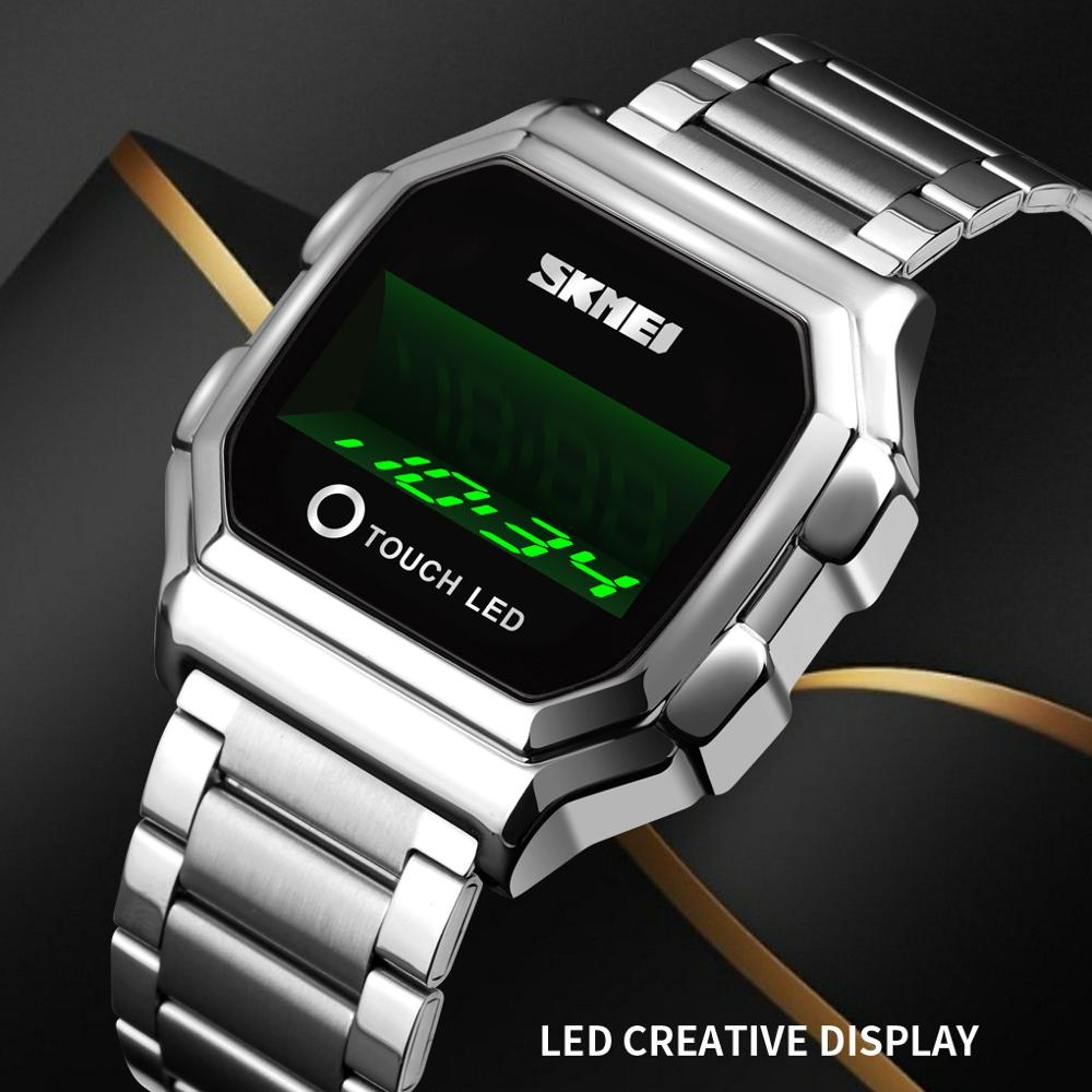 SKMEI Top Luxury Brand Men Watch LED Watch Creative Digital Touch Watches Stainless Steel Man Wristwatches Relogio Masculino New