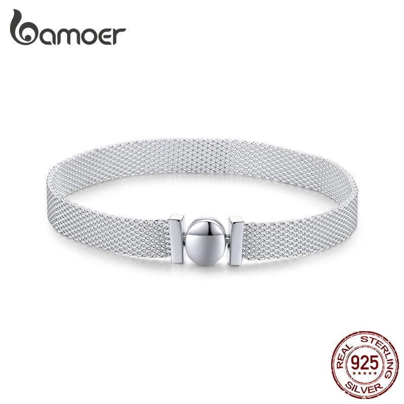 Bamoer 100% real prata esterlina 925 reflexions pulseira relógio de pulso pulseiras para mulheres europeu luxo jóias finas scx110