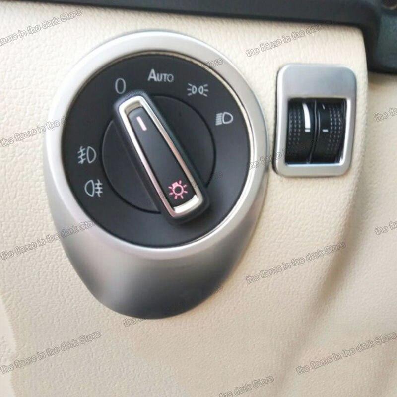 Lsrtw2017 für Volkswagen Vw Tiguan Auto Scheinwerfer Control Taste Borte Innen Zubehör Chrom 2017 2018 2019 2020 2021