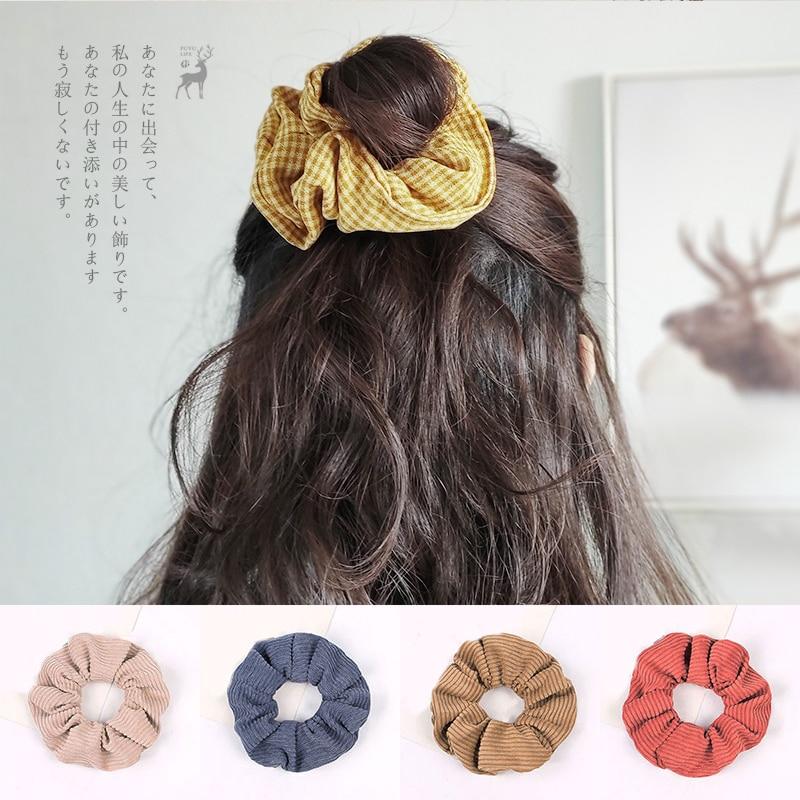 2020 Corduroy Stripe Hair Scrunchie New Solid Color Ropes Elastic Ring Korean Accessories Girls Ponytail Headwear