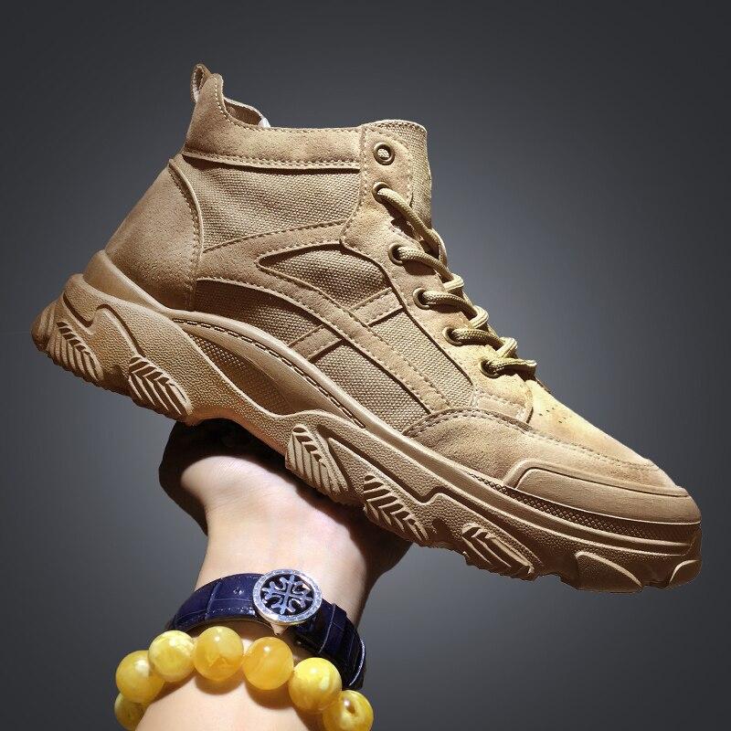 أحذية الكاحل من قماش الدنيم للرجال ، أحذية ذات منصة عالية الجودة ، أحذية عمل دافئة لفصل الشتاء ، أحذية عسكرية للثلج