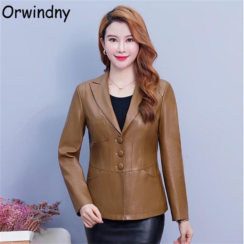 Orwindny حجم كبير 5XL معطف جلد النساء الأخضر سترة جلدية للسيدات ملابس خارجية الخريف موضة جديدة سترة جلدية زر الجلد المدبوغ