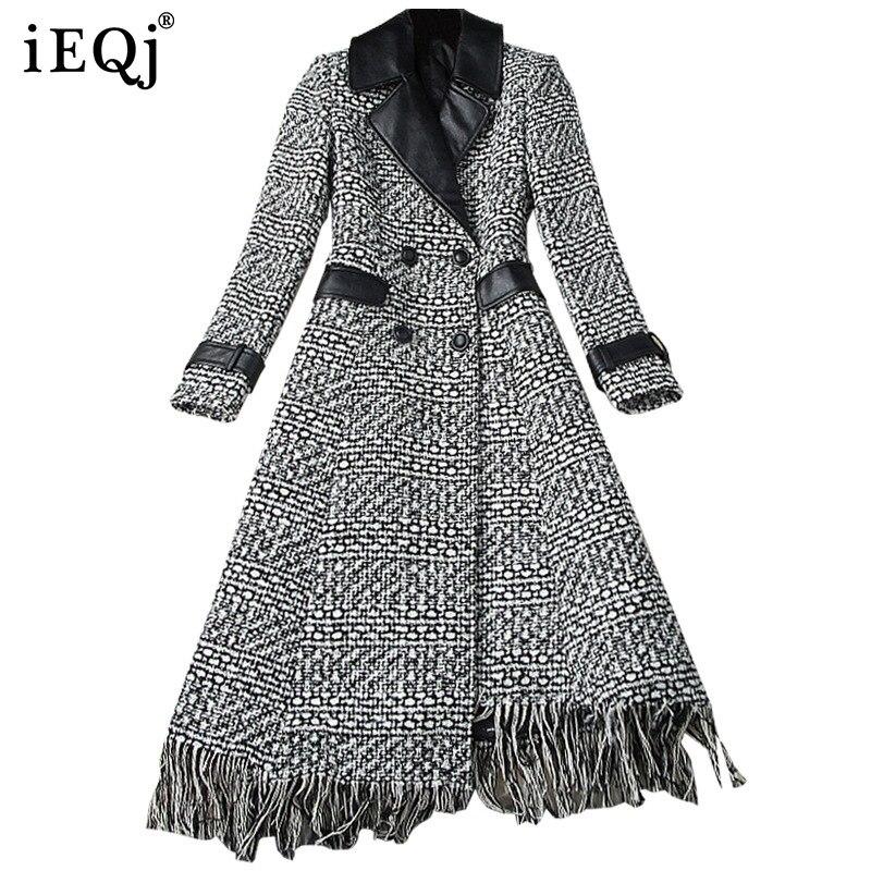 IEQJ 2021 شتاء جديد موضة ملابس حريمي بدوره إلى أسفل طوق كامل الأكمام الصوفية شرابات عالية الخصر بولي leather الجلود سترة واقية
