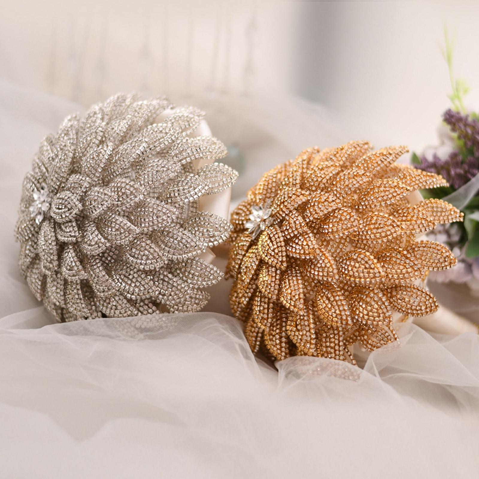 البريق الزفاف باقة الماس زهرة باقة الزفاف تسلق حجر الراين الزفاف باقة أزهار الزفاف باقة العروس باقة