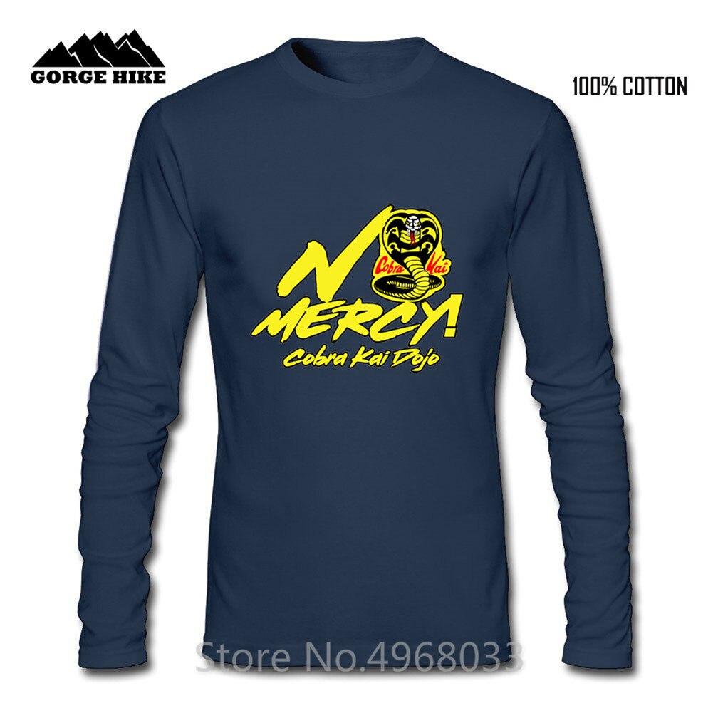 Cobra Kai Dojo Strike Hard No Mercy King of Snake Yellow Letter Print T-shirt Hombre Comfortable Cotton Fashion Top Men Tshirt