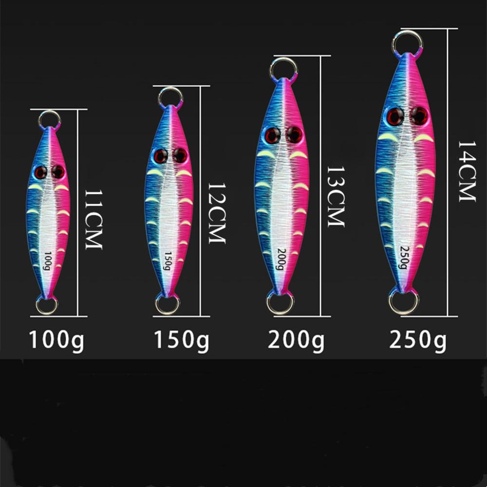 CASTFUN 100g 200g 250g 1pc  Slow Jig Jigging Lure Ocean Fire Luminous Squid 3D Eyes Metal Jig Glow Saltwater Jigs Fishing Lures enlarge