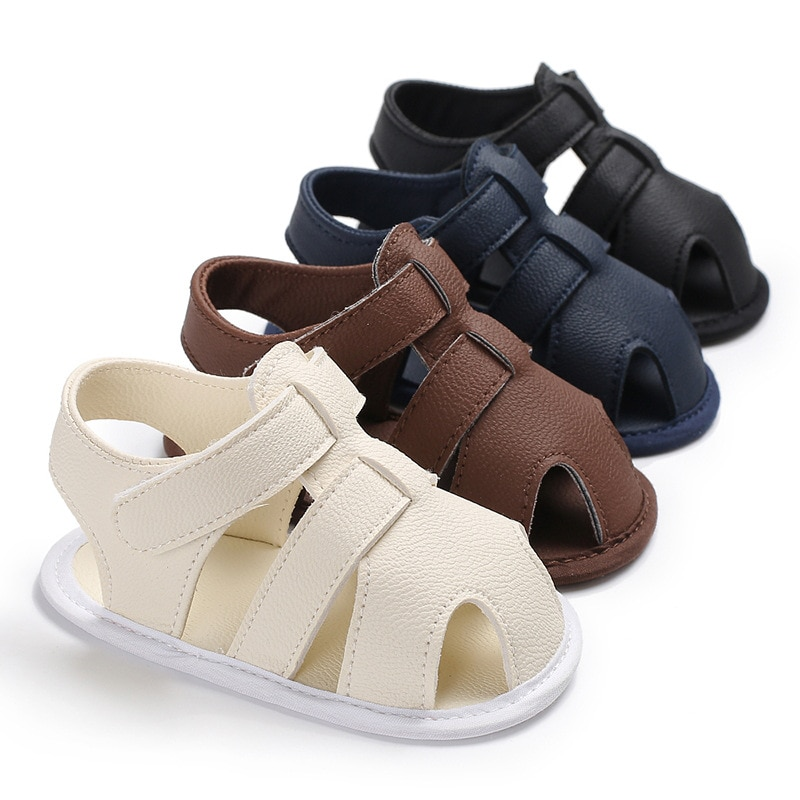 2021 Fashion New Summer Newborn Baby Boys PU Lether Shoes Soft Sole Hollow Sneakers Sandals Bed Crib