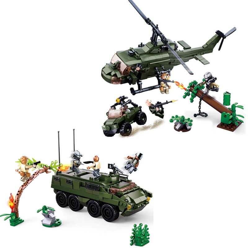 NEW SLUBAN Alien Predators M18 Armored Tank Vehicle Helicopter Building Block Sets Movie Classic Kids Toys Marvel