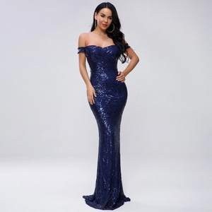 Mermaid Long Formal Evening Dresses Blue Sequins Real Dress Women Lady Prom Gown Off The Shoulder Sparking Dress