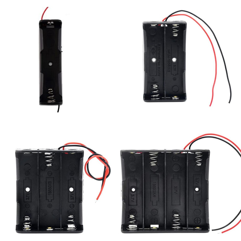 black plastic safety socket outlet board storage box with skylit outlet board container cables electric wire management case New Black Plastic 1x 2x 3x 4x 18650 Battery Storage Box Case 1 2 3 4 Slot Way DIY Batteries Clip Holder Container With Wire Lead