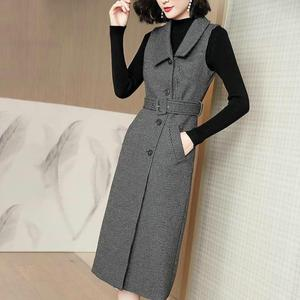 Sweater fashion suit women's winter long sleeve knitted bottoming shirt sleeveless woolen dress two-piece set  Sashes