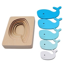 Kids Wooden Toys For Children Animal Carton 3D Puzzle Multilayer Jigsaw Puzzles Baby Toys Child Earl