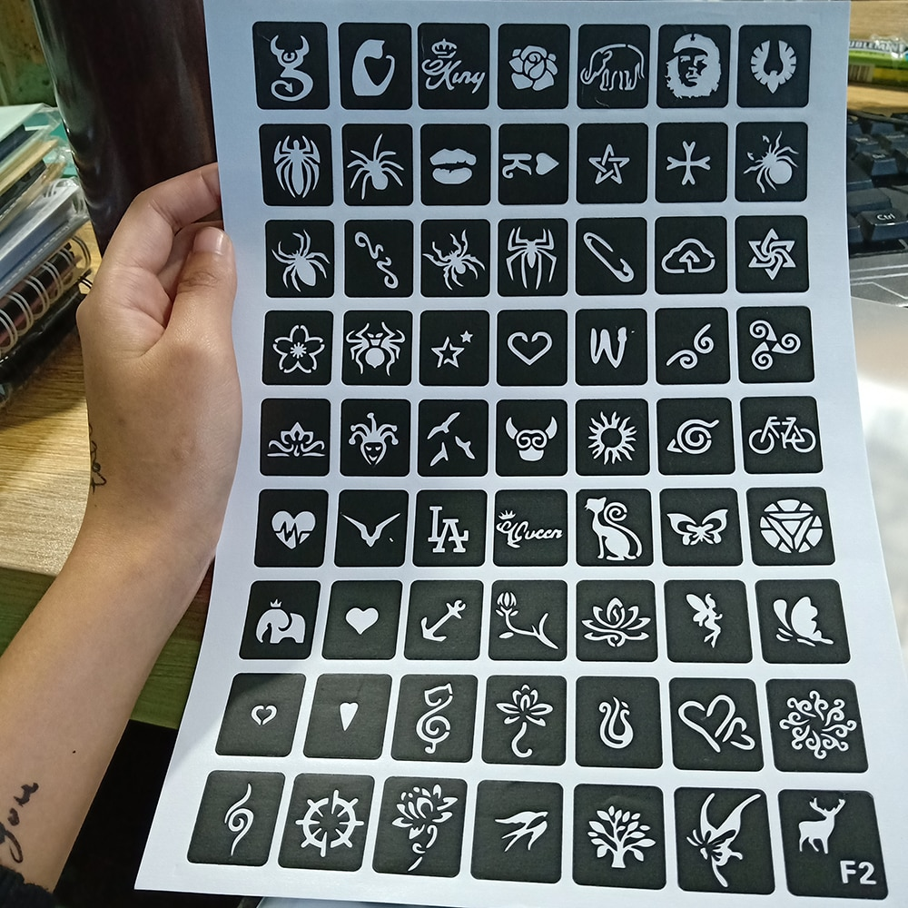 Трафареты для татуировок хной блеск татуировки трафарет женщина девочка дети рисунок шаблон Маленький милый цветок бабочка мультфильм