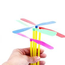 100Pcs Dragonfly Shape Hand Push Flying Propeller Outdoor Sports Game Kids Toy