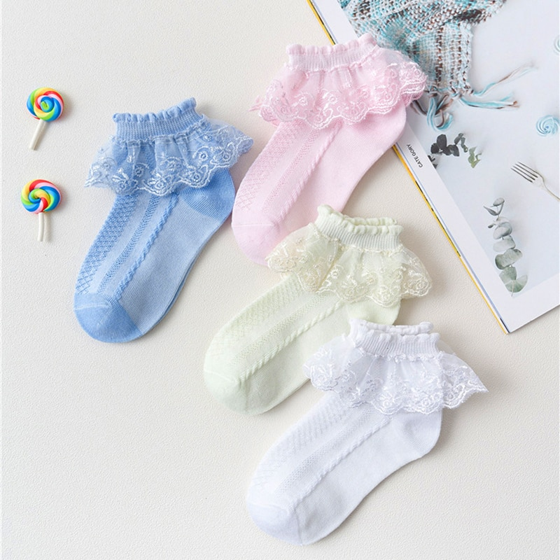 Baby Lace Ruffle Socks Princess Girl Kids Spring Summer Soft Breathable Cotton Girls Accessories