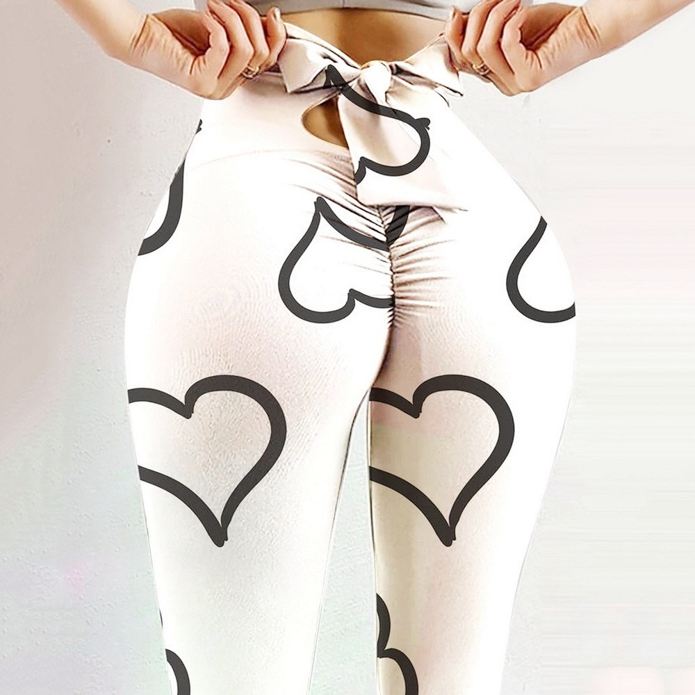 Sexy BowKnot Gym Leggings For Women High Waist Sports Pants Fitness Push Up Heart Butterfly Print Camo Leggings Yoga Activewear tape side camo print leggings