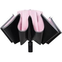 HHYUKIMI 10 côtes colle noire parapluie inversé coupe-vent Anti-UV parapluie pliant automatique avec bandes lumineuses, sûr la nuit