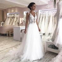 2020 new vintage wedding dresses o neck appliques lace sleeveless wedding gowns a line tulle bridal gown 2020 vestido de noiva