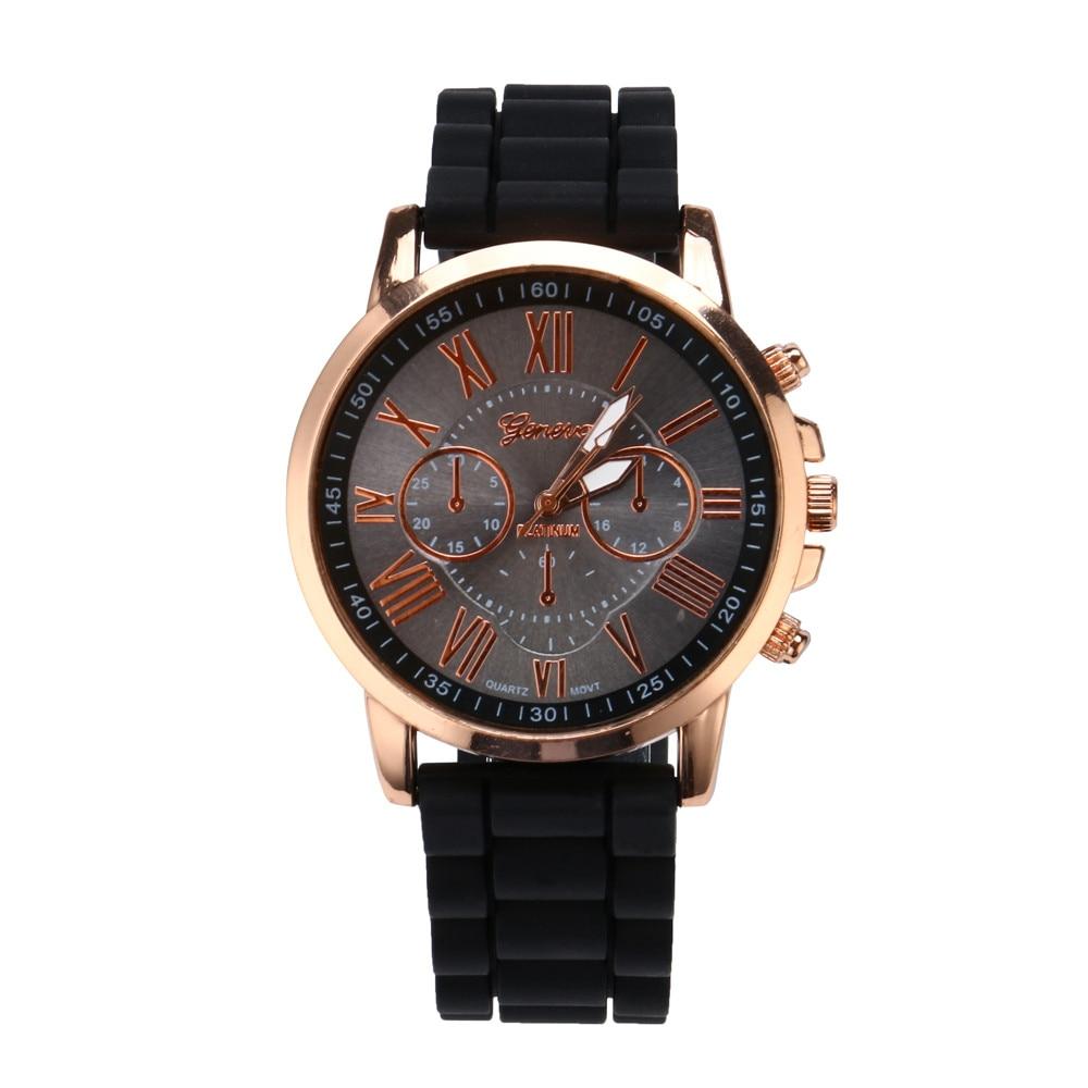 Zegarek Geneva Fashion Women Watch Roman Numerals Silicone Jelly Gel Quartz Analog Watch Female Quartz Wrist Clock Reloj Mujer