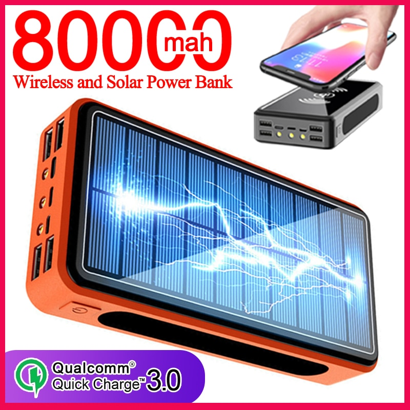 Solar Wireless Power Bank 80000mAh Portable Charger Power Bank Outdoor Travel Emergency Quick Charge for Xiaomi Samsung Iphone