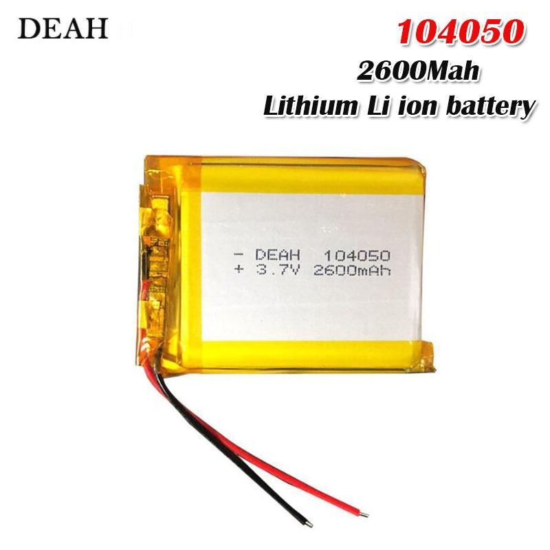 3,7 V 2600mah 104050 Li-batería recargable de polímero para MP3 MP4 altavoz humidificador con proyector lámpara alimentada por energía Solar Banco Li Po de la batería