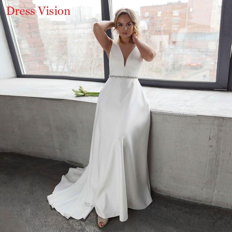 فساتين زفاف بدون أكمام على شكل حرف v فساتين زفاف مثيرة بدون ظهر رداء دي ماري العروس لتكون العروس ثوب Vestido De Novia