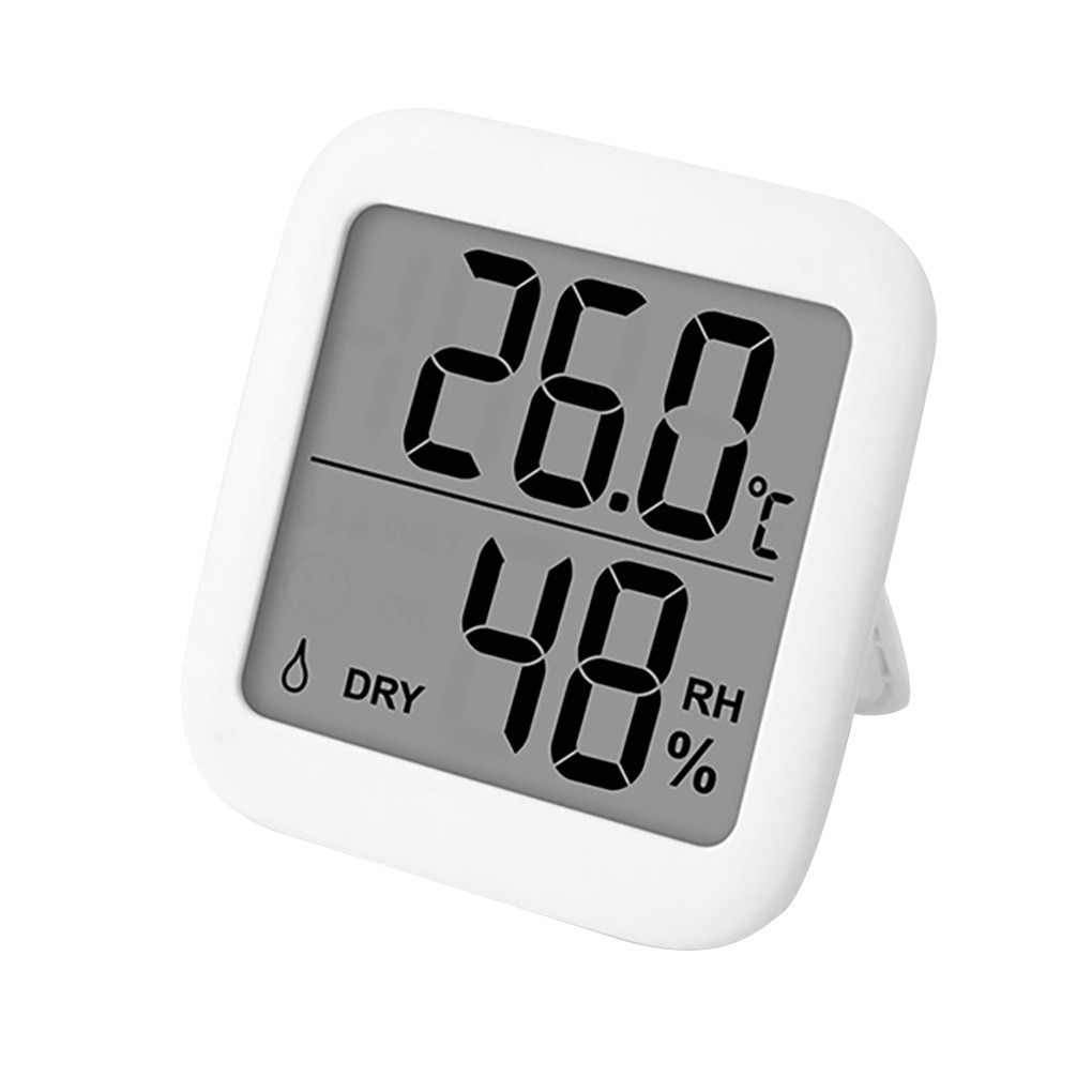 Multifunction Thermometer Hygrometer Automatic Electronic Temperature Humidity Monitor Clock Large LCD Screen