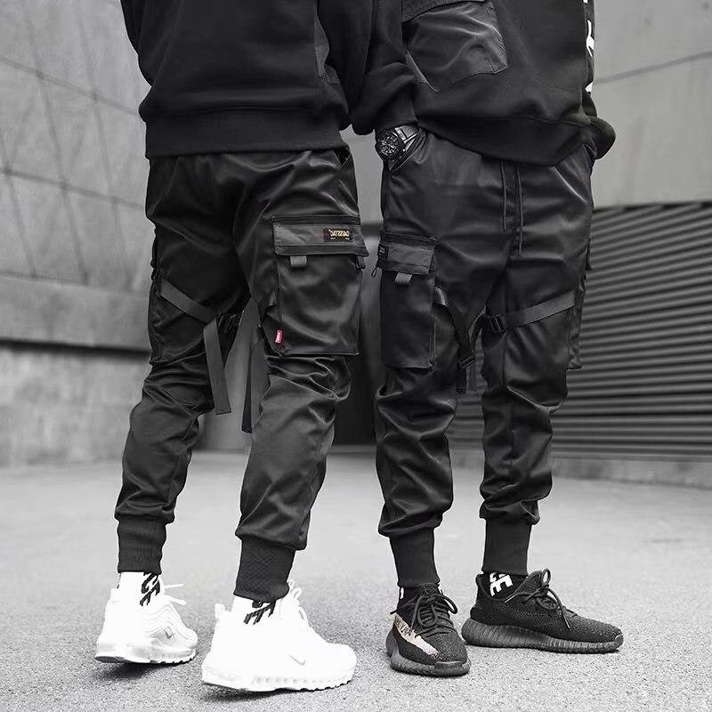 2021 Men's Workwear Black Ribbon Jogger Casual Cotton Streetwear Hip Hop Pocket Track Pants Harajuku Trendy Fashion Pants