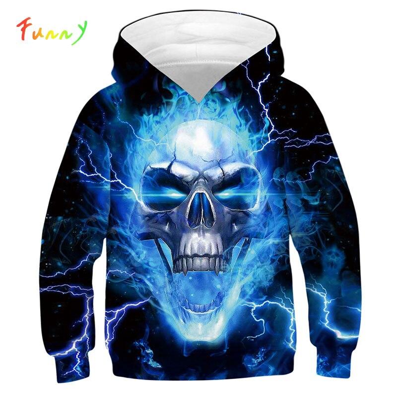Azul fuego 3D cráneo niñas niños sudaderas con capucha Teen manga larga con capucha jerseys 2019 otoño Cool niño sudadera niños chándal camisetas