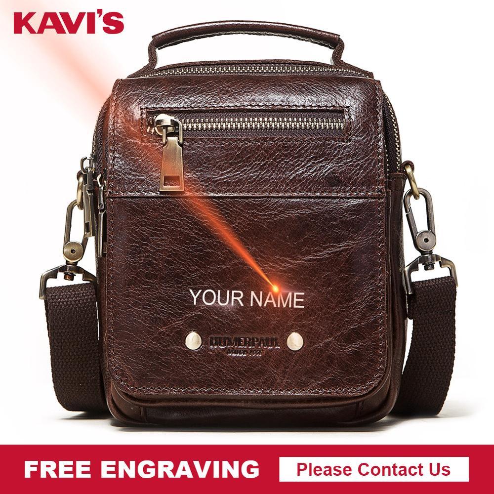 KAVIS 2020 Genuine Leather Mens Bag Fashion Shoulder Messenger Bags Travel Crossbody Small Flap Bag Boys Handbag Name Engraving