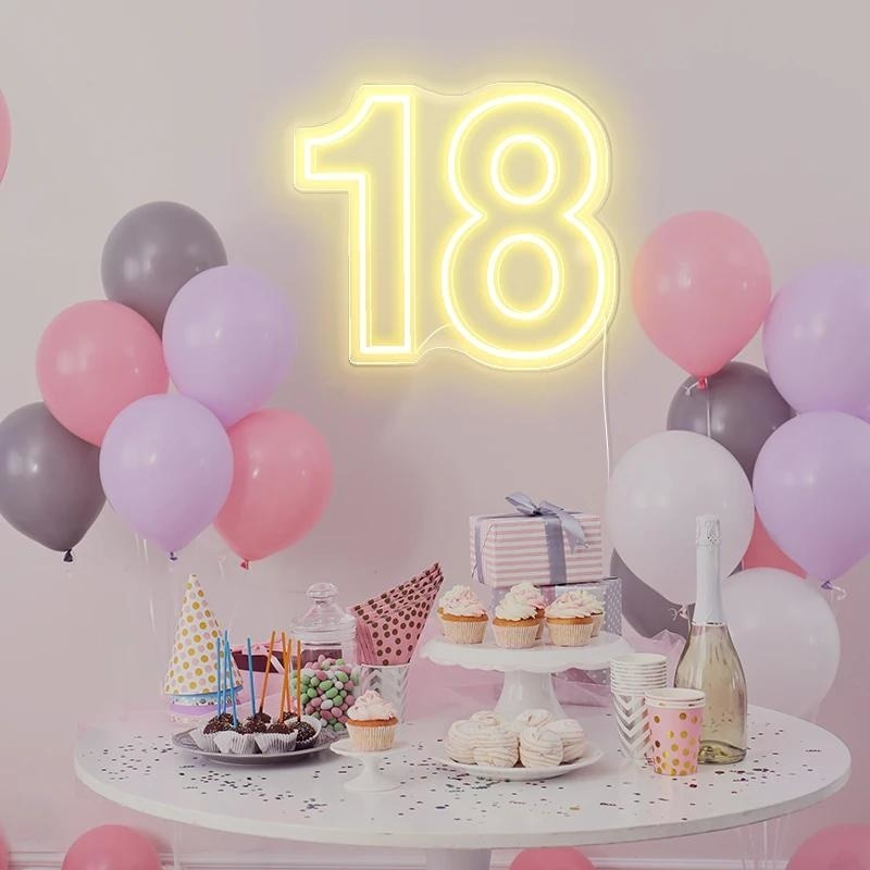 OHANEONK Custom led 18 Eighteen Happy Birthday Neon Light Sign Backdrop Decor Home Bar Party Wall Decorative Drop Shipping enlarge