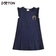 DXTON Cotton Baby Girls Dress Sleeveless Kids Summer Clothing Wing Printed Children Dress Straight G