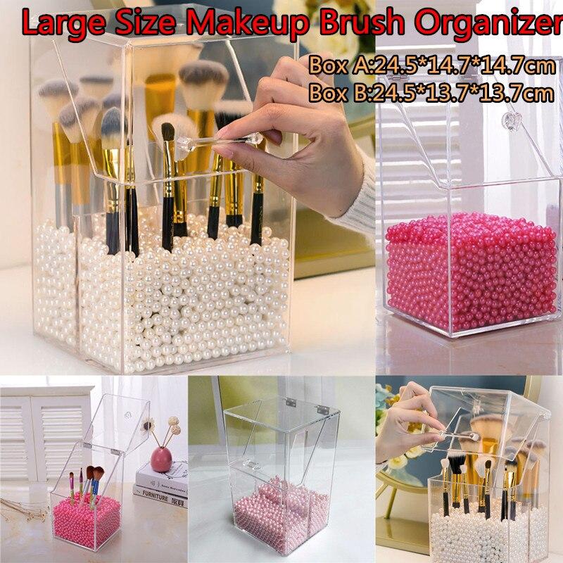Contenedor de almacenamiento de brochas de maquillaje de gran tamaño con tapa organizador de cepillos cosméticos transparente con 500g de cuentas de escritorio caja a prueba de polvo