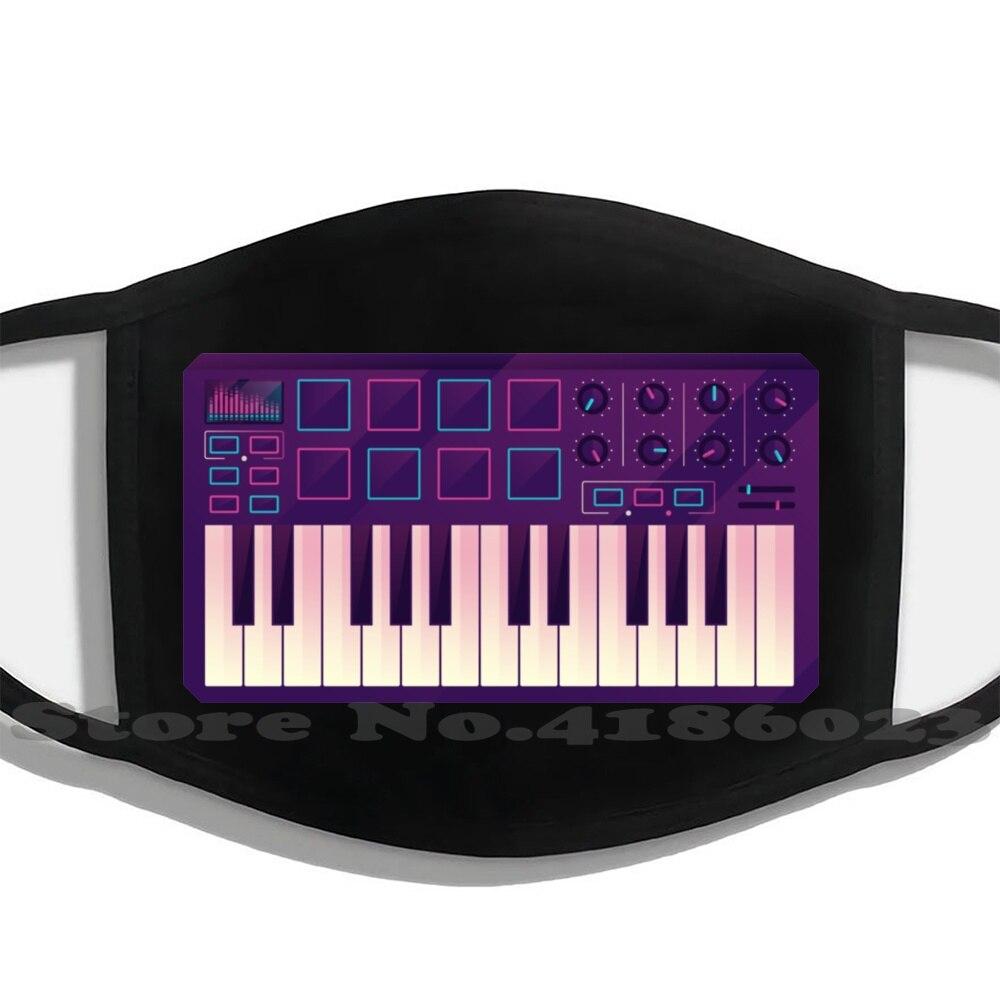 Máscara facial de neón con filtro, máscara moderna con controlador Midi, teclado,...