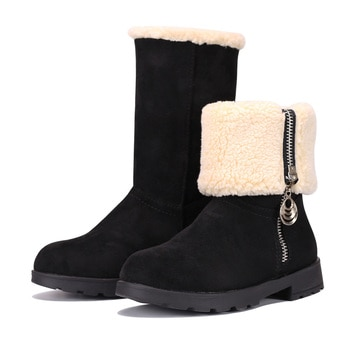 MUYGUAY Girls Winter Snow Boots Suede Fold Mid-Calf Fur Lined Warm Zipper for Toddler/Little Kid