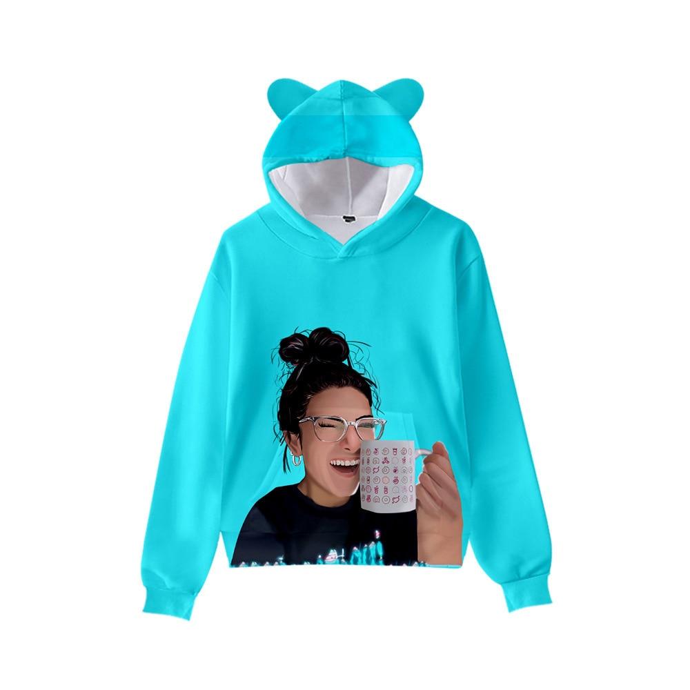 Kawaii Charli D'Amelio Hoodies Boys/Girls Cat Ears Charli Damelio Sweatshirts Hooded Autumn Winter Charli Damelio Merch Tops