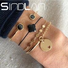 Sindlan 4 pièces ancienne mode or fer rond bracelets pour femme particulier ouvert demi chaîne bracelet noir corde géométrique poignet bijoux
