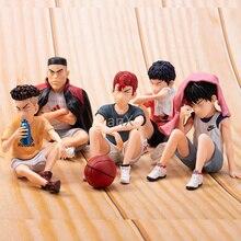 5pcs Anime SLAM DUNK Sakuragi Hanamichi PVC Action Figures Rukawa Kaede Akagi Takenori Mitsui Hisashi Collection Model Toys 10cm
