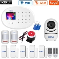 kerui w20 smart home alarm system app control tft color display wifi gsm wireless connections sensor family security protection