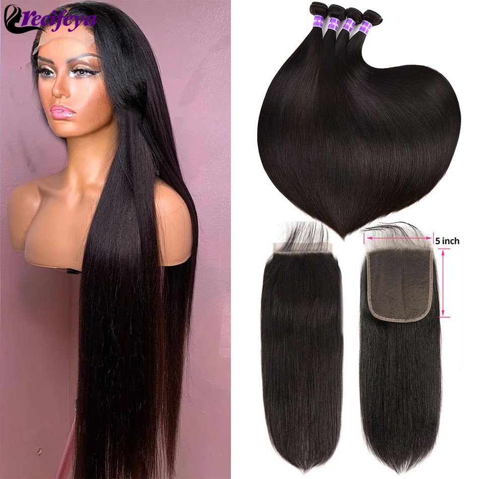 Peruvian Straight Hair Bundles With Frontal Virgin Straight Human Hair 2/3 Bundles With Closure HD 5X5 Lace Closure With Bundles