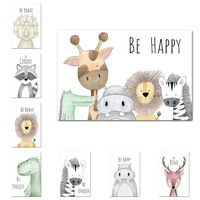 be happy animals nursery room prints painting on canvas hippo giraffe monkey lion poster picture home decor for kids baby room