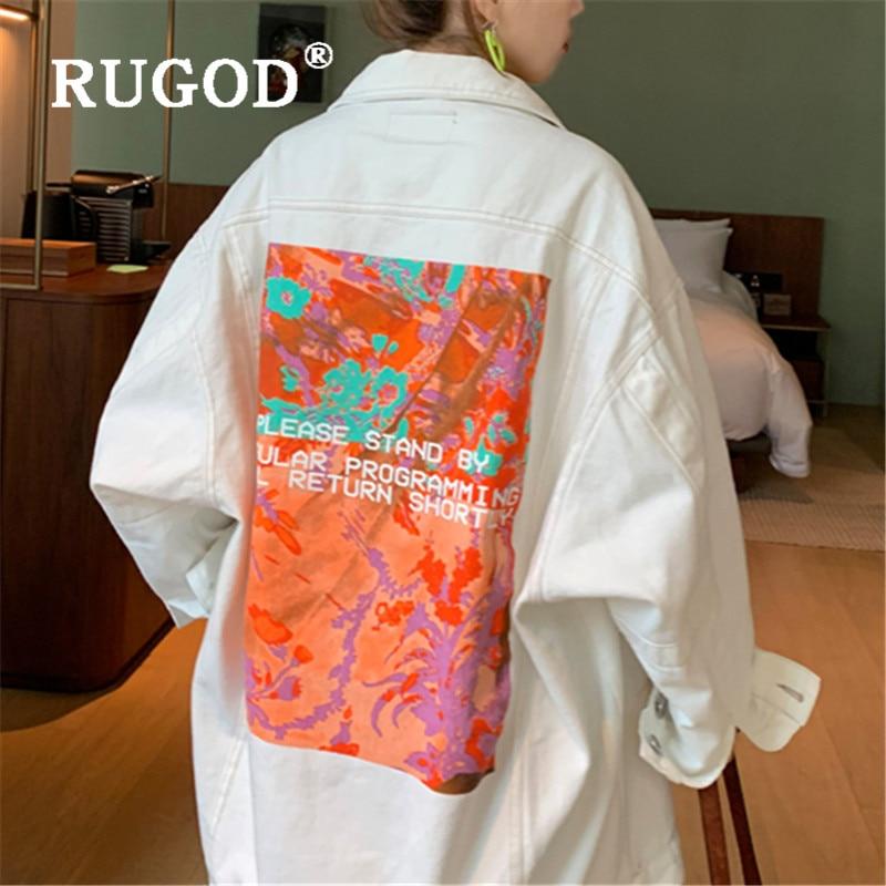 2020 nova impressão engraçada jaqueta feminina moda primavera outono branco denim casaco estilo coreano bf menino solto jean jaqueta outwear