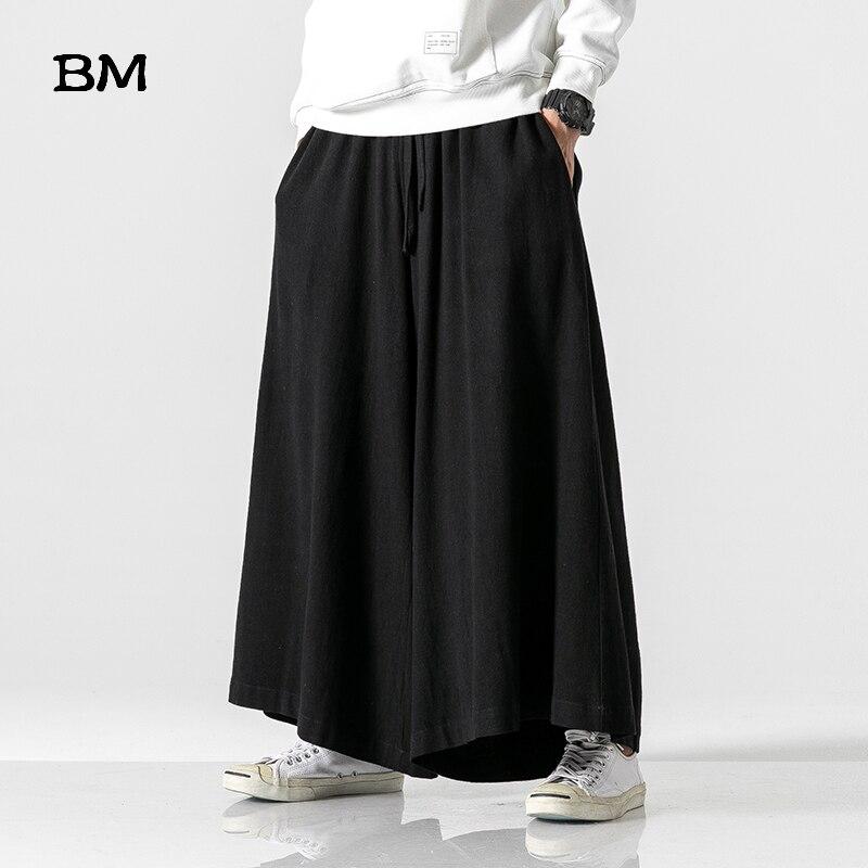 Chinesischen Stil Lose Breite Bein Hosen Leinen Casual Hosen Schwarz Plus Größe Rock Hosen Mode Baggy Ausgestelltes Hosen Männer 5XL kleidung