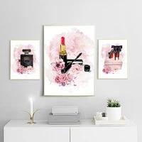Mode fleur rouge a levres parfum mode Art affiche maquillage toile impression nordique mur photo moderne filles chambre decor a la maison