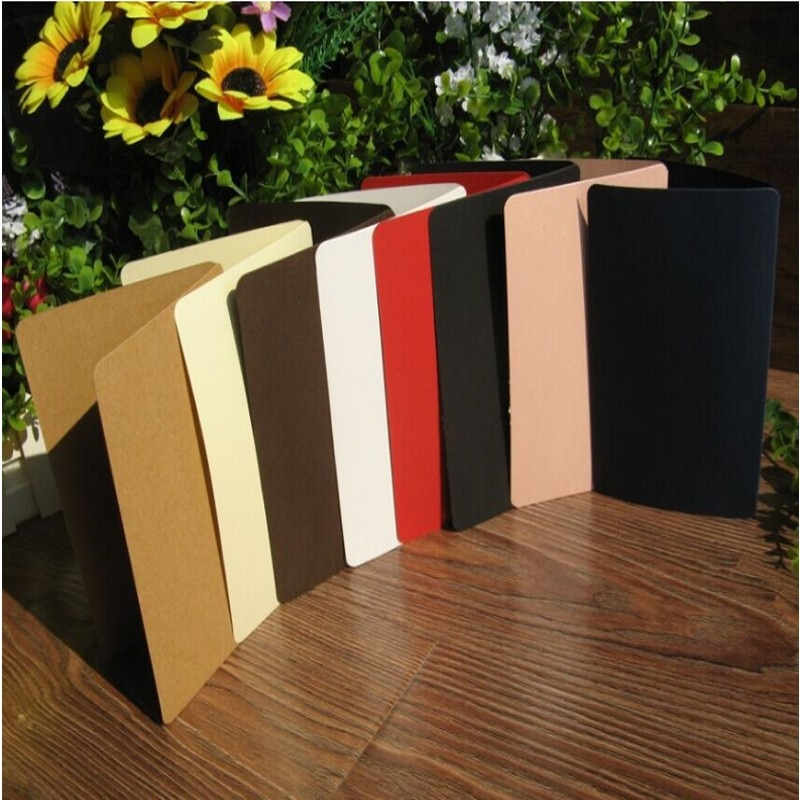 100Pcs/lot Seven selections  solid color folded postcards write to friends and family greeting card birthday invitation diy wooden faith family and friends birthday calendar
