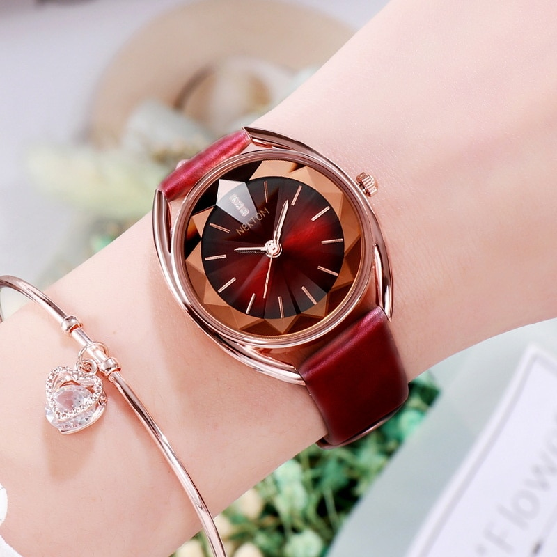 2021 Top Brand Luxury Fashion Women's Watches Dark Red Waterproof Leather Band Watches For Women Relogio Feminino enlarge