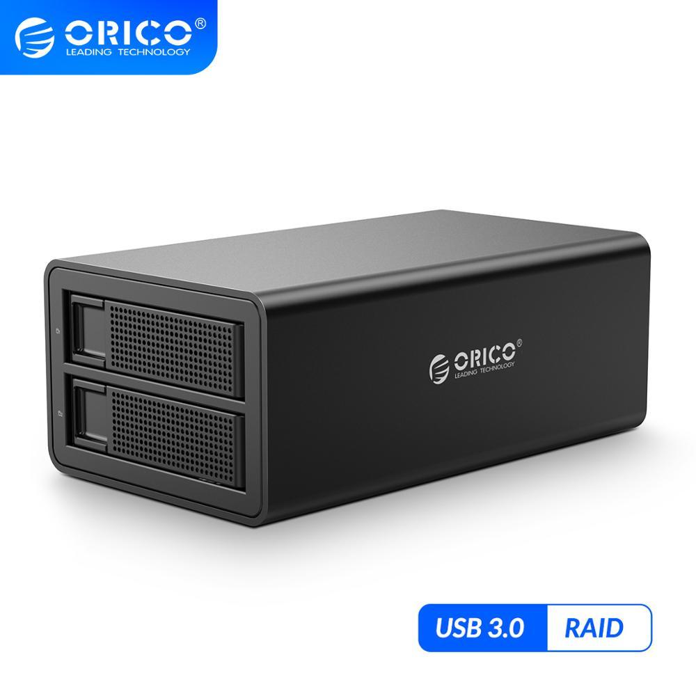ORICO 35 Serie 2 bay 3.5 HDD Docking Station USB 3,0 Mit RAID Aluminium HDD Gehäuse 48W Externe power Adapter HDD Fall