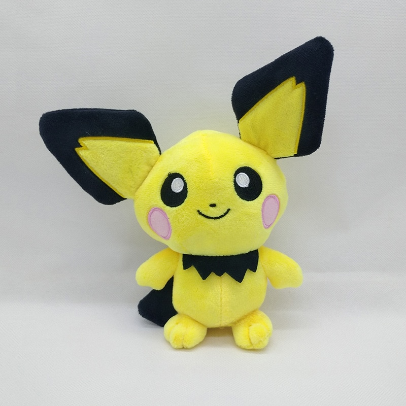 Ohmetoy pikachu brinquedos pichu macio pelúcia animal de pelúcia boneca de pelúcia 22cm anime bebê spiky-eared bonecas brinquedos presente de natal