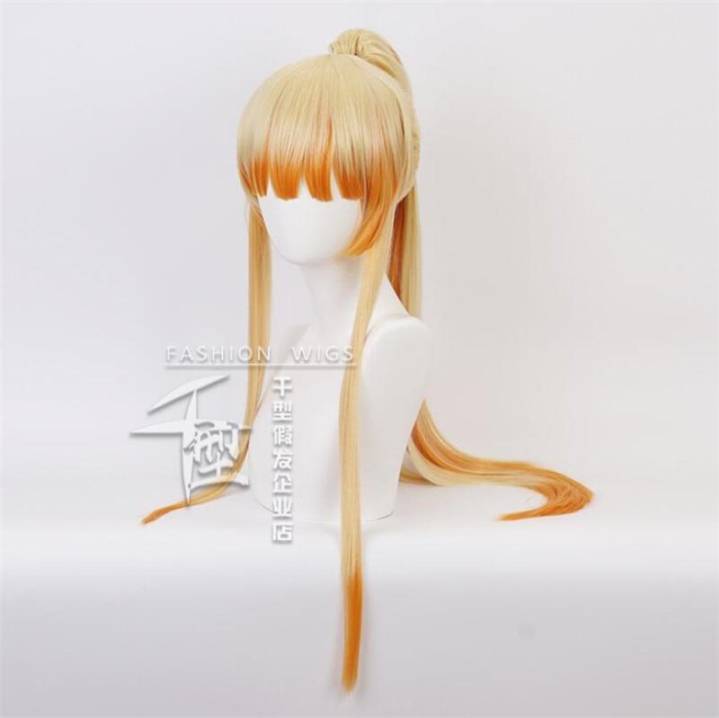 Anime demonio asesino Kimetsu no Yaiba Agatsuma Zenitsu coleta mujer peluca Cosplay traje resistente al calor pelucas de pelo sintético